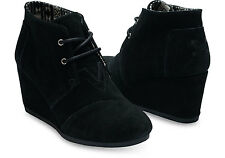 Authentic TOMS Black Suede Wedge Desert Bootie, Women Size 12