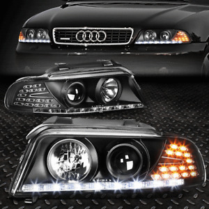 FOR 1996-2001 AUDI A4/QUATTRO BLACK HOUSING PROJECTOR HEADLIGHTS LED DRL+CORNER