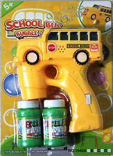 School Bus Bubble Gun Blower Blaster with Flashing LED Lights & Music 2 Refill