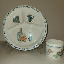 Peter Rabbit and Friends 2 Piece Melamine Eden F. Warne Co Divided Plate and Cup