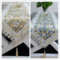 Tasseled Edges Table Runner Floral Lace Embroidered Tablecloth Tabletop Decor