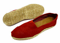 WOMENS FLAT RED SLIP-ON HESSIAN COMFY ESPADRILLE SHOES CASUAL PUMPS SIZES 3-8