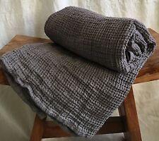 Leinen Waffelpique Handtuch Badetuch Saunatuch Stonewashed 75x130 cm Steel/grau