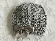New Hand Knitted Baby Girl's Grey Sparkle Beanie Hat With Bow 0 - 3 Months