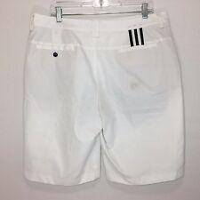 adidas Golf Shorts 36 Climalite White Flat Front 3 Stripe