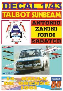 DECAL 1/43 TALBOT SUNBEAM LOTUS A.ZANINI R.DE ORENSE 1981 2nd (09)