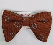 NOS Vintage Mens Bow Tie Grip On Clip On NeckTie Brocade Abstract Geometric New
