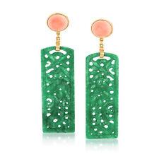 Verde Jade tallada y pendientes de coral rosa en 14kt Oro sobre Sterling