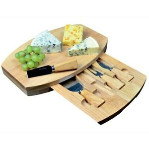 Occasion Oval Wood Cheese Board Integrated Drawer & 4 Specialist Cheese Knives