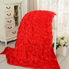 1.45m*1YD 3D Floral Satin Fabric Rose Flower Wedding Aisle Runner Carpet Curtain