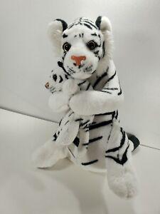 "14"" White Tiger & Cub Stuffed Realistic Plush Toy Animal"