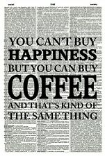 ORIGINAL-Coffee Quote Art Print-Vintage Dictionary Page Kitchen Art Print 181KLD