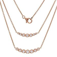 14k Rose Gold 0.39ctw Diamond Curved Bar Pendant Layer Necklace