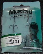 6 Mustad TG76BLN KVD Elite Triple Grip Size 8 Treble Hooks Kevin VanDam 2X Short