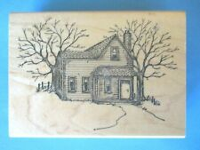 WOODEN HOUSE & TREES Rubber Stamp ART IMPRESSIONS SCENERY