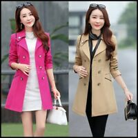Women Double Breasted Mid Long Trench Jacket Spring Fall Casual Windbreaker Coat