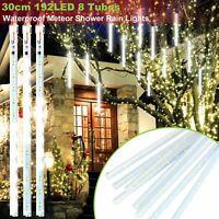 30cm 192 LED Lights Meteor Shower Rain 8 Tube Xmas Snowfall Tree Outdoor Light