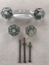 Vintage Antique Clear Glass Drawer Pull Cabinet Handles 1940's Screws
