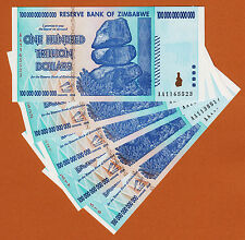 Zimbabwe 5 Pieces 100 TRILLION Dollars AA- 2008 Pick-91 UNC (SHIP FROM CANADA)