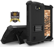 BLACK RUGGED TRI-SHIELD HARD CASE COVER STAND FOR LG OPTIMUS ZONE-3 / K4 / SPREE