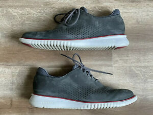 COLE HAAN Mens 9.5 Casual Dress Gray Suede Grand.Os Shoes