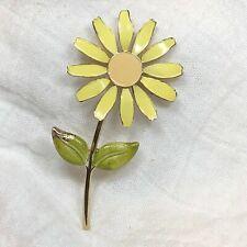 Vintage Yellow Enamel Green Dimensional Flower Brooch PIn