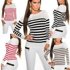 ♥SeXy Miss Damen Fein Strick Pullover Pulli Stripes Look 34/36/38 TOP gestreift