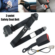 Universal Strap Adjustable Seat Belt Black 3 Point +EXTENSIONS w/ Warning Cable