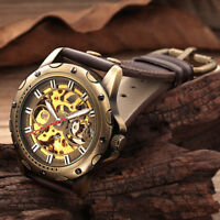 Bronze Roman Automatic Mechanical Men Skeleton Brown Leather Wrist Watch Luxury