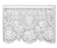 """Victorian Rose White Country Lace Floral Window Cafe Tier 60"""" x 30"""""""