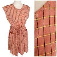 Modcloth Pepaloves Red Sleeveless Lights Dress Green Yellow Embroidery Pockets S