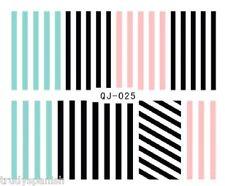 Nail Art Water Decals Stickers Transfers Neon Rainbow Stripes Gel Polish (LQJ25)