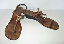 Tory Burch T Strap Sandals 8 1/2M brown leather wedge heel gold hardware 4502