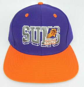 PHOENIX SUNS NBA VINTAGE STYLE SNAPBACK FLAT BILL RETRO BLOCK 2-TONE CAP HAT NEW