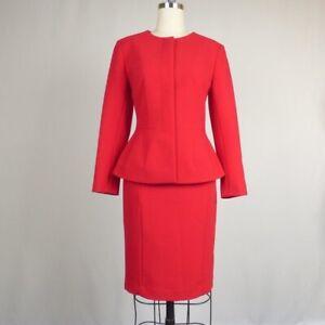 New Ann Taylor Women's Blazer Skirt Suit Set Red 2 Preppy Work Career Classic