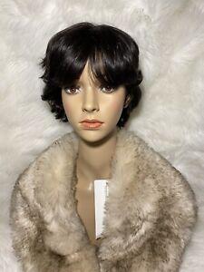 short pixie wig human hair Trendco Color 1-B Off Black
