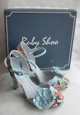 New Ruby Shoo Heidi Blue Floral Ankle Strap Ladies High Heel Sandals Shoes Sz 6