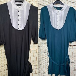 Amish Tunic Dress Long Top Alternative Unusual Retro Style BlackGreen 8 10 12 14