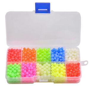 1000pcs 5mm Fishing Beads Assorted Beads Round Float Glow Fishing Rig Beads Eggs