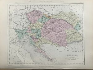 1871 Austria Hungary Empire Fully Hand Coloured Antique Map by Joshua Archer