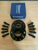 2 x 20mm Bimecc Black Wheel Spacers Black Bolts Locks - VW Caddy / Golf / Jetta