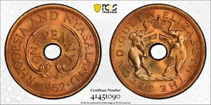 1962 Rhodesia & Nyasaland Penny PCGS SP66 Red Kings Norton Mint Proof