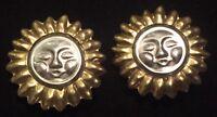 "VTG '80s Artisan Taxco ""Sun Sol"" 1⅜"" Clip-On 925 Sterling Brass Earrings MEXICO"
