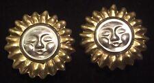 "VTG '80s Mexico Taxco ""Sun Sol"" 1⅜"" Clip-On 925 Sterling Brass Artisan Earrings"