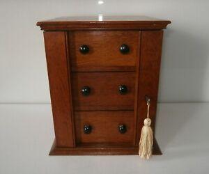 Superb Antique Victorian Solid Oak Miniature Wellington Chest c1850