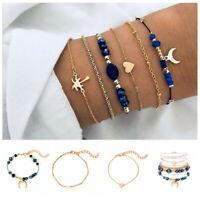 5Pcs/Set Fashion Women Bohemian Heart Moon Chain Beads Bracelet Bangle Jewelry