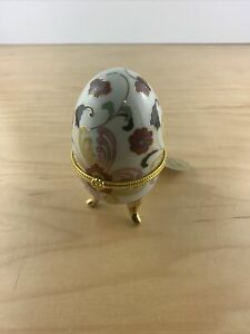Vintage Porcelain Egg Trinket Box Floral Gold Accent Pattern