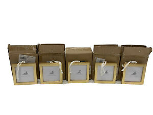 Pottery Barn Gold Leaf Frame Christmas Tree Ornaments Square Minor marks 5-PACK