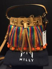 Milly Pom Pom Fringe Drawstring Small Bucket Crossbody Bag NWT