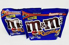 2 m&m's CARAMEL Center Milk Chocolate Candies Candy Snack 9.60 oz each Bag